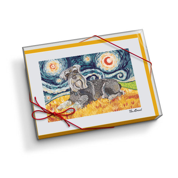 Schnauzer Starry Night Notecard Set