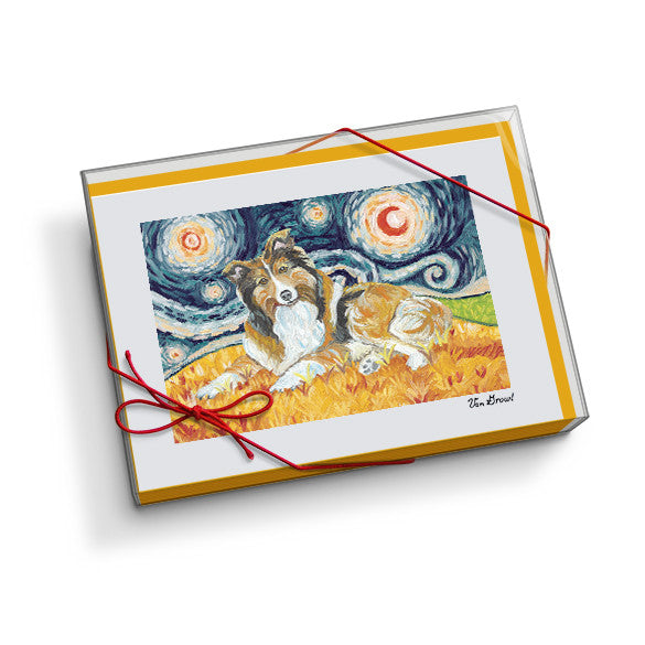 Shetland Sheepdog Starry Night Notecard Set
