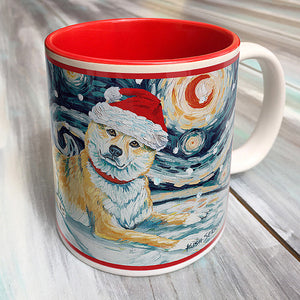 Shiba Inu Fawn Holiday Starry Night Mug