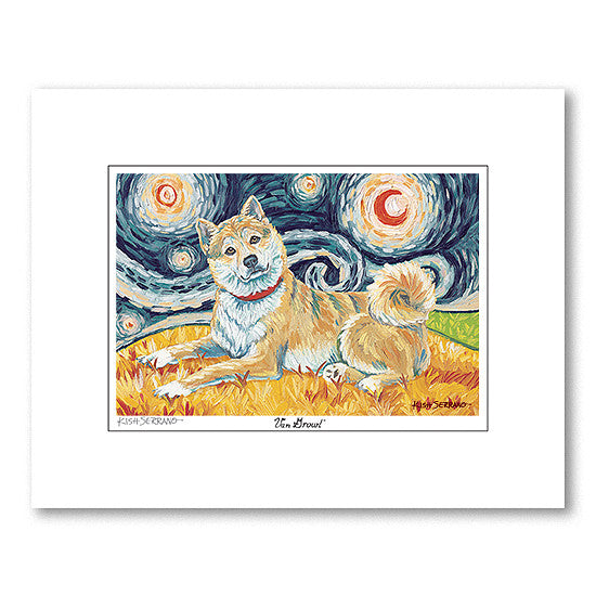 Shiba Inu Fawn Starry Night Matted Print