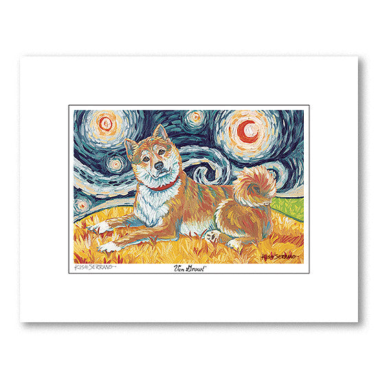 Shiba Inu Red Starry Night Matted Print