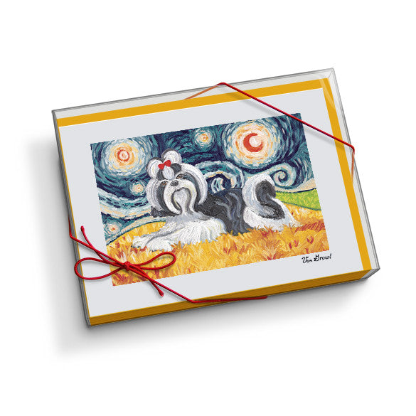 Shih Tzu Black and White Starry Night Notecard Set