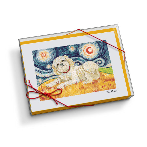 Shih Tzu Blonde Starry Night Notecard Set