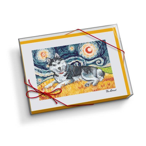 Siberian Husky Starry Night Notecard Set