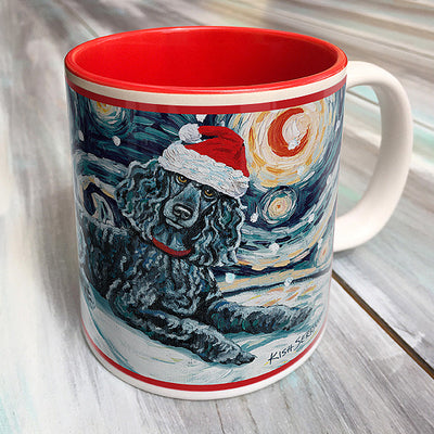 Poodle Standard Black Holiday Starry Night Mug