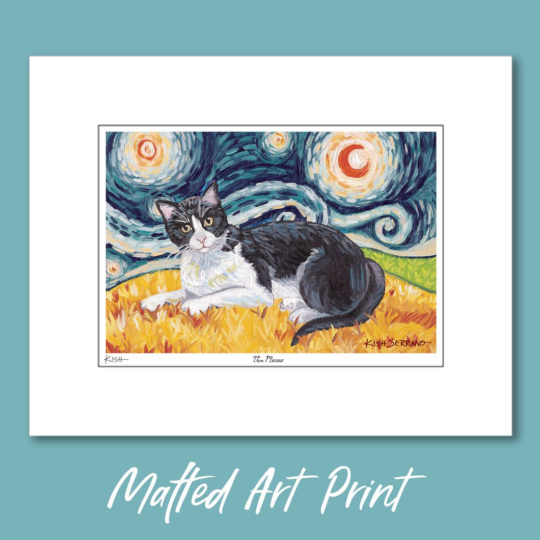 Cat Art Print, Tuxedo Cat, Matted Print, Van Gogh Inspired VAN MEOW