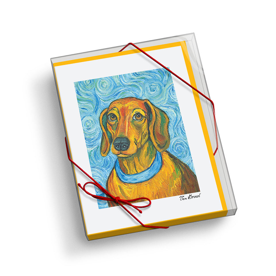 Dachshund Van Growl Portrait Notecard Set