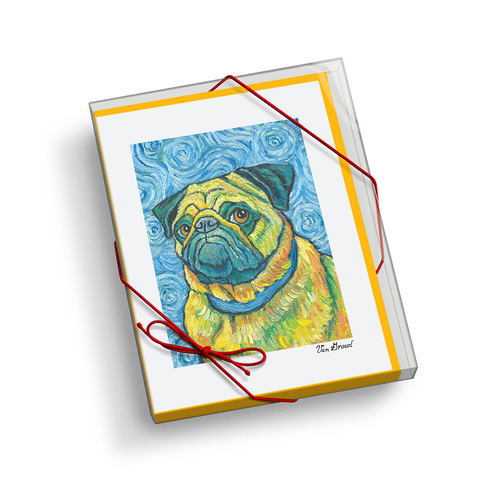 Pug Van Growl Portrait Notecard Set