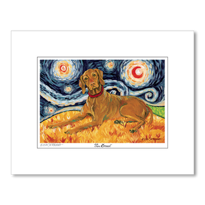 Vizsla Starry Night Matted Print