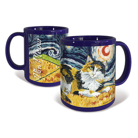 Calico Longhaired Cat Starry Night Mug