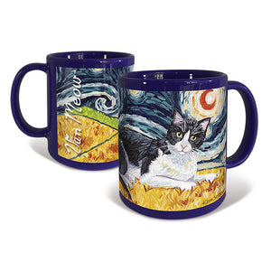 Tuxedo Shorthaired Cat Starry Night Mug