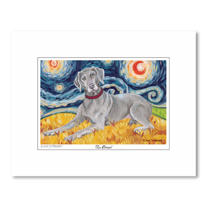 Weimaraner Starry Night Matted Print