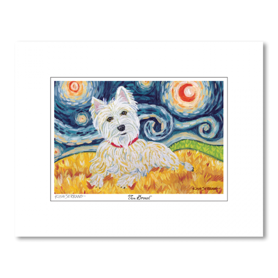 West Highland Terrier Starry Night Matted Print