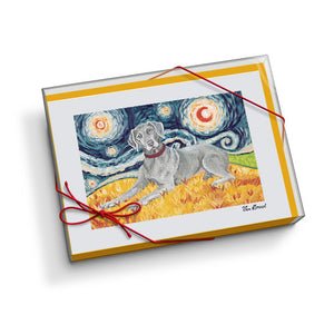 Weimaraner Starry Night Notecard Set