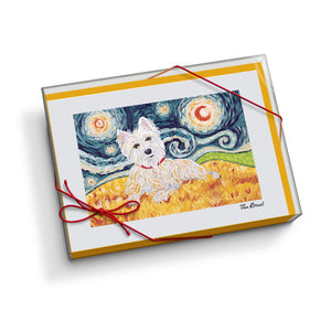 West Highland Terrier Starry Night Notecard Set