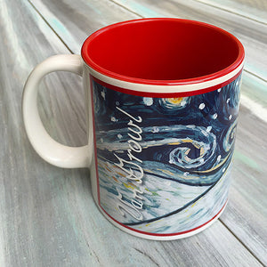 Dachshund Longhair Red Holiday Starry Night Mug