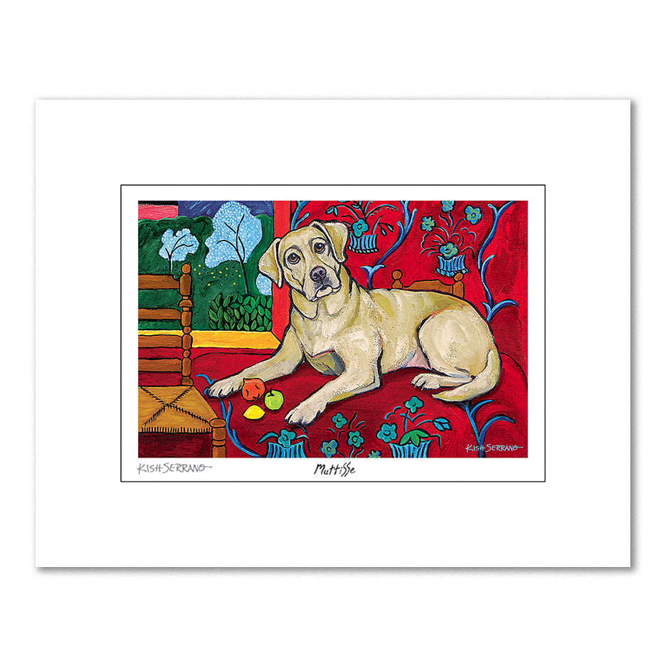 Labrador Yellow Muttisse Matted Print
