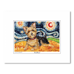Yorkshire Terrier Starry Night Matted Print