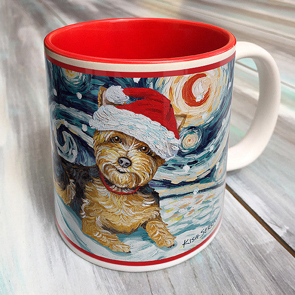 Yorkie Holiday Starry Night Mug
