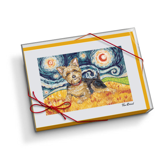Yorkshire Terrier Starry Night Notecard Set