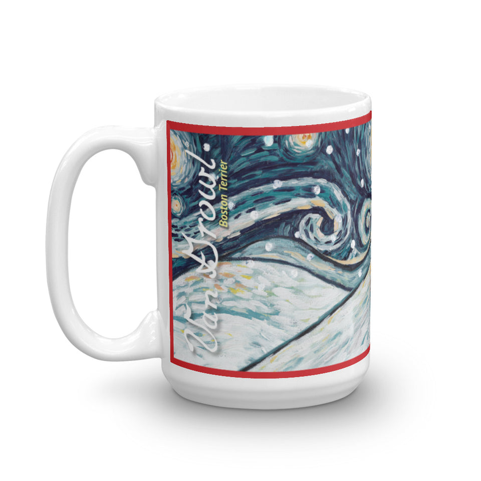 Boston Terrier Snowy Night Mug - 15oz
