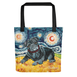 Pug (black) STARRY NIGHT Tote