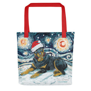 Rottweiler Snowy Night Tote Bag