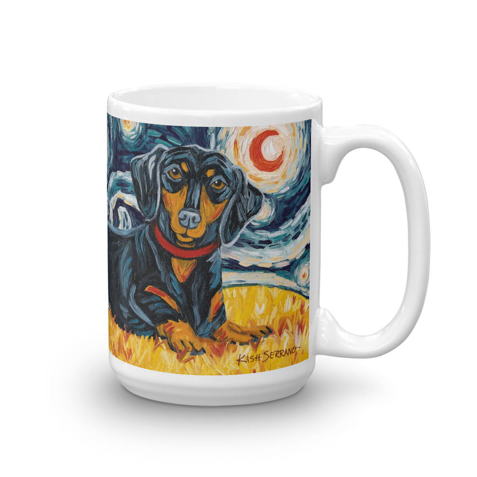 Dachshund (black & tan) STARRY NIGHT Mug-15oz