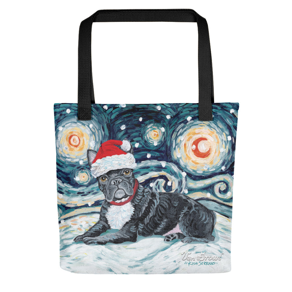 French Bulldog (Black) Snowy Night Tote Bag