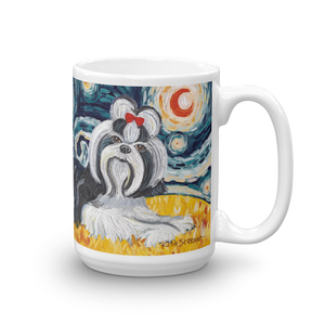 Shih Tzu (black & white) STARRY NIGHT Mug-15oz