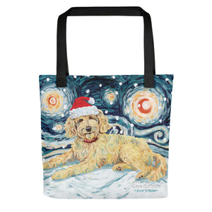 Doodle (Golden) Snowy Night Tote bag
