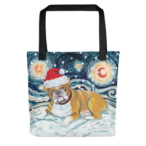 Bulldog Snowy Night Tote