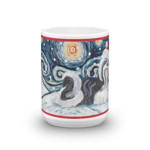 Shih Tzu (Black & White) Snowy Night Mug - 15oz