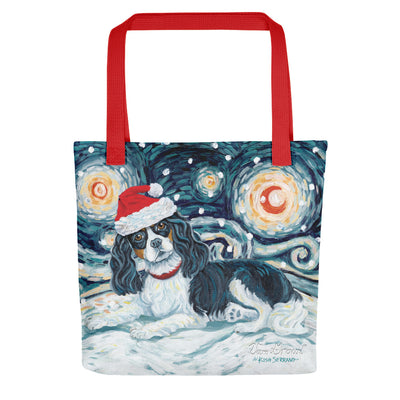 Cavalier King Charles (Tricolor) Snowy Night Tote bag