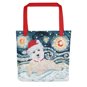 Westie Snowy Night Tote bag