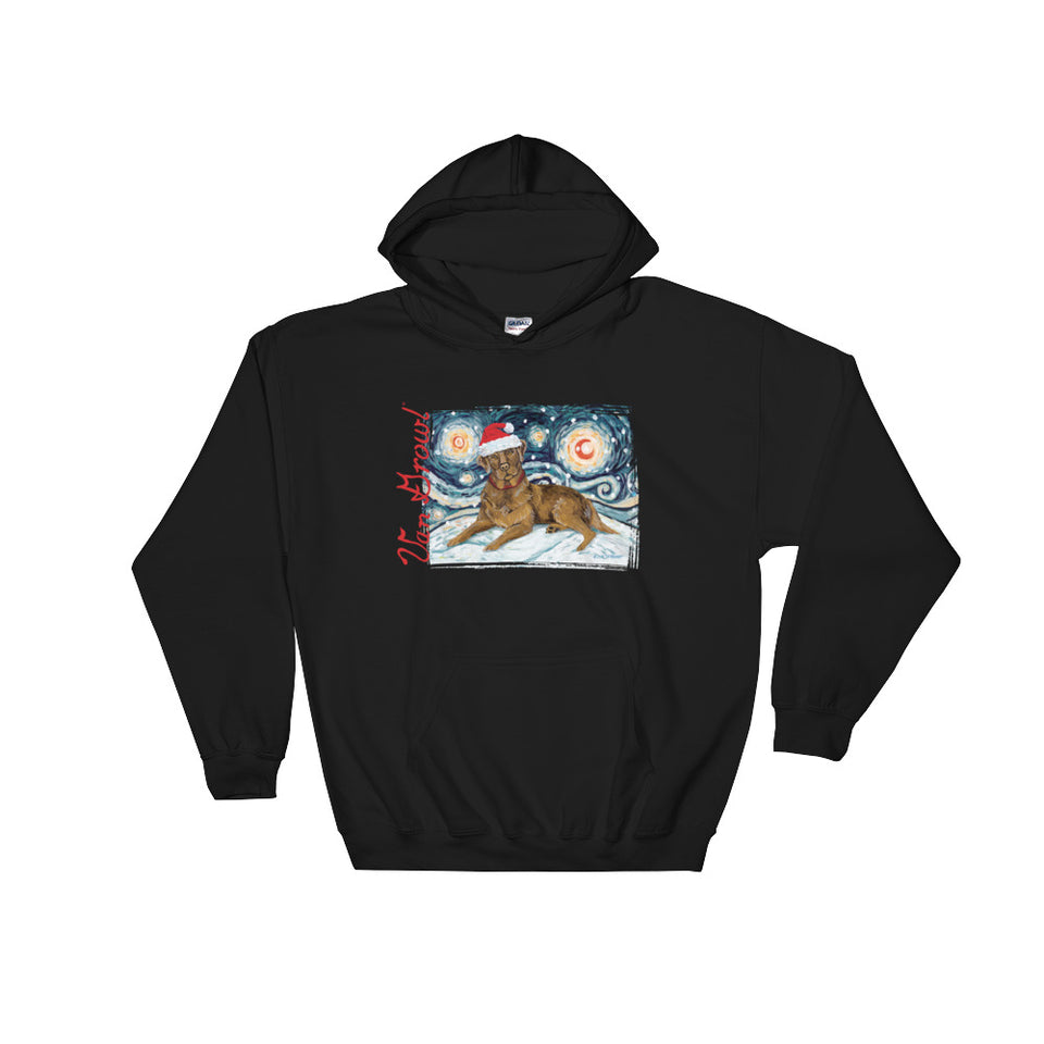 Labrador (Chocolate) Snowy Night Hoodie