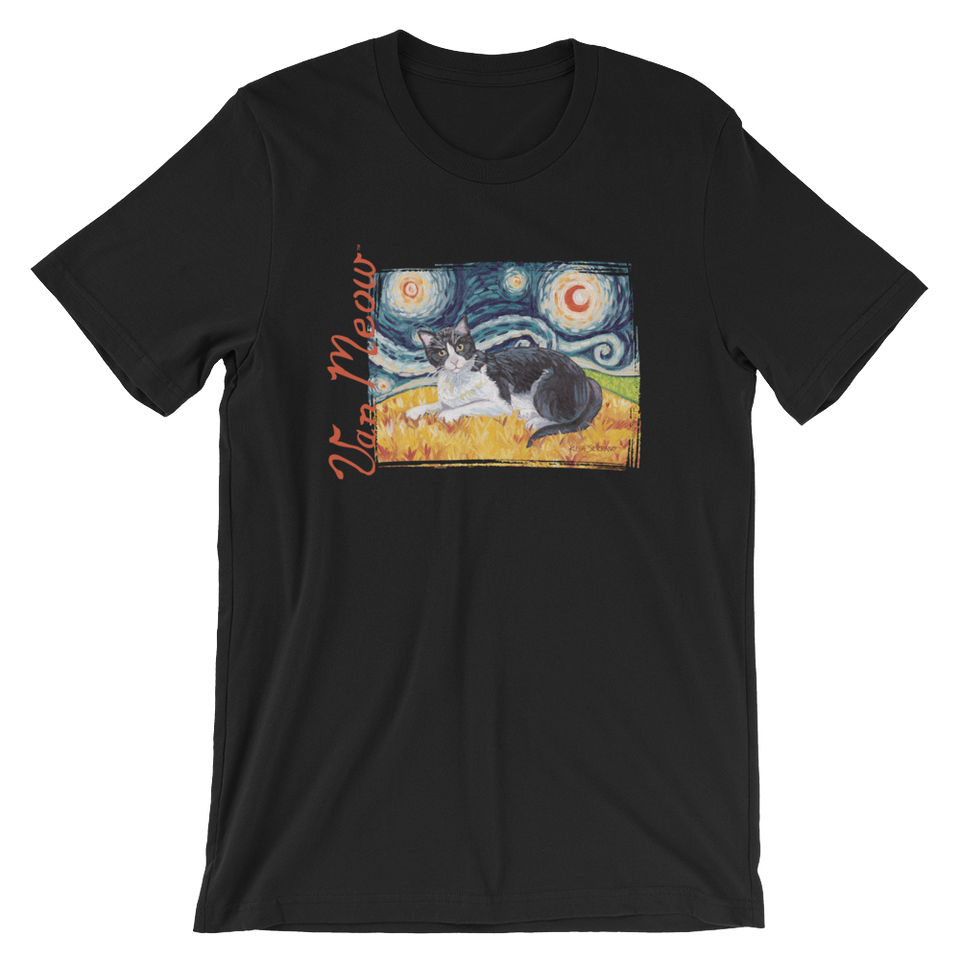 Tuxedo Cat (shorthaired) STARRY NIGHT T-Shirt