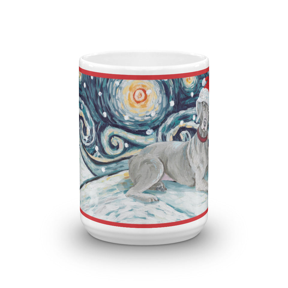 Weimaraner Snowy Night Mug - 15oz