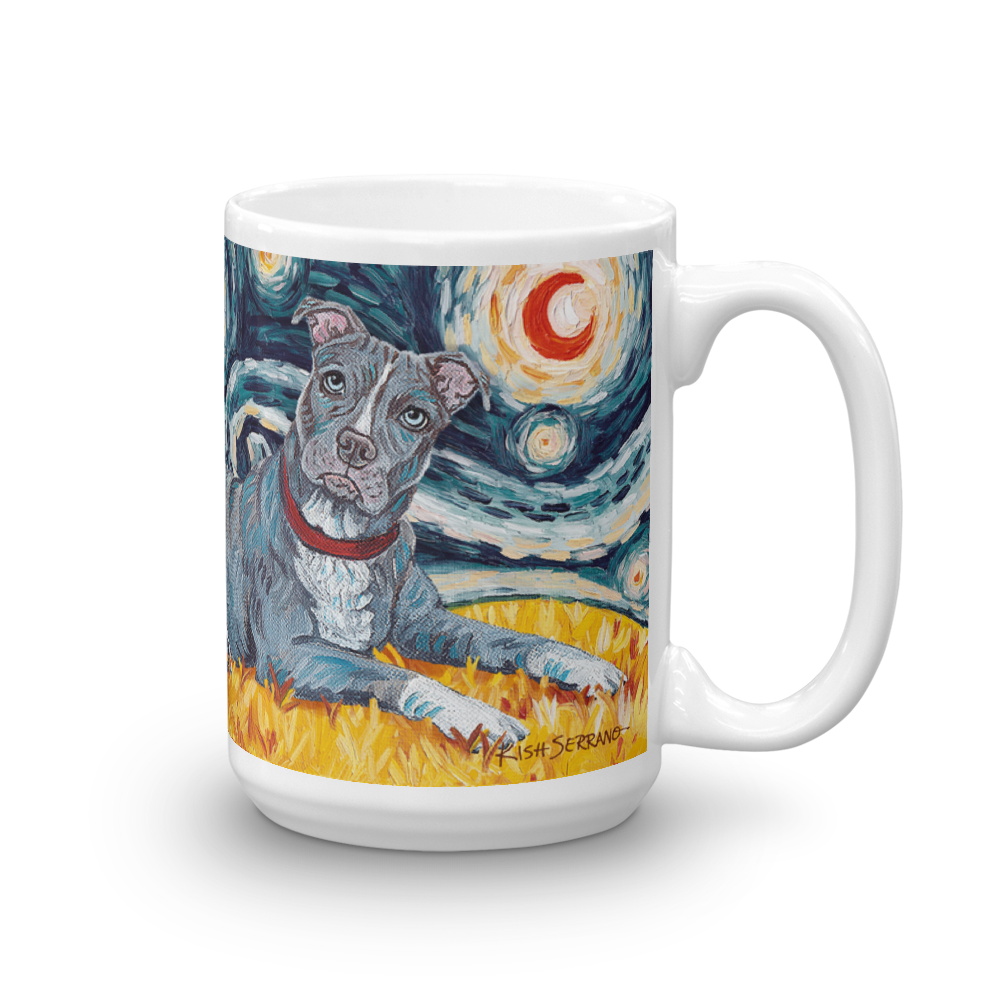 Pit Bull Terrier (grey) STARRY NIGHT Mug-15oz