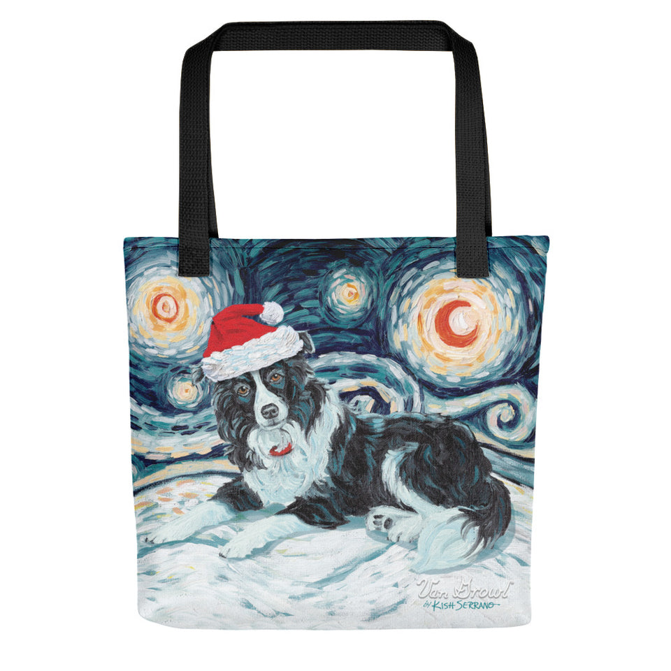Border Collie Snowy Night Tote bag