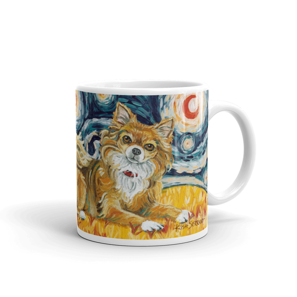 Chihuahua (long haired) STARRY NIGHT Mug-15oz