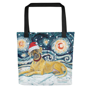 Great Dane (Uncropped) Snowy Night Tote Bag