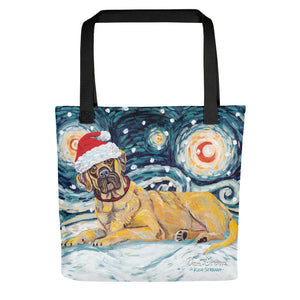 Mastiff Snowy Night Tote Bag