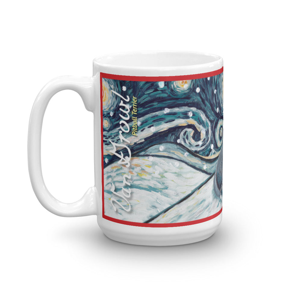 American Staffordshire Terrier (Grey) Snowy Night Mug - 15oz