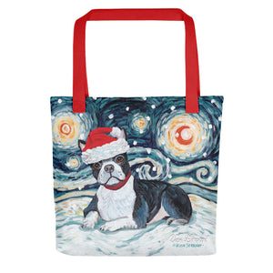 Boston Terrier Snowy Night Tote Bag