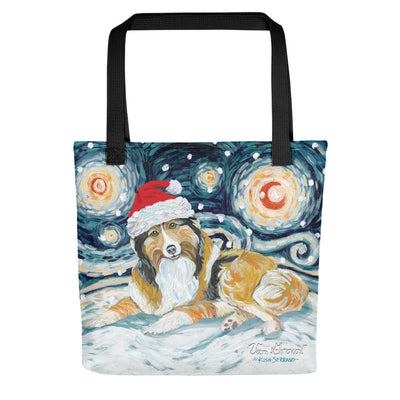 Shetland Sheepdog Snowy Night Tote Bag