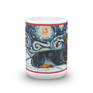 Dachshund (Black & Tan) Snowy Night Mug - 15oz