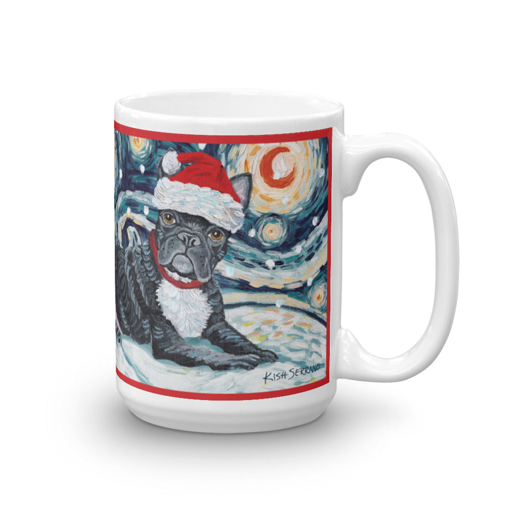 French Bulldog Snowy Night Mug - 15oz