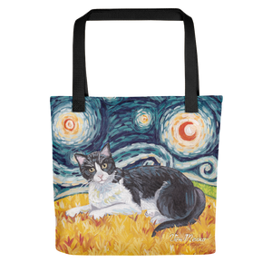 CAT, TOTE BAG, Tuxedo Cat, STARRY NIGHT, VAN MEOW