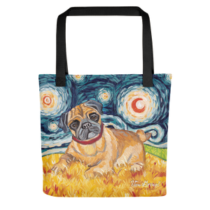 Pug (fawn) STARRY NIGHT Tote